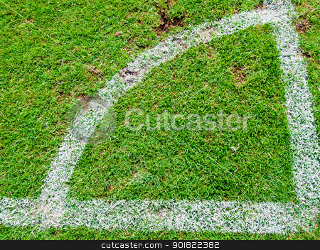 Green soccer field , Corner Kick from top view stock photo, Green soccer field , Corner Kick from top view by jakgree