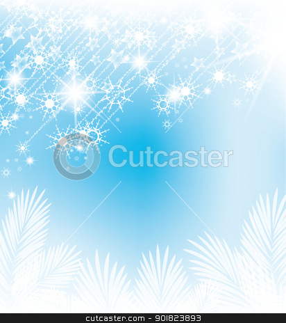 Christmas background stock vector clipart, abstract background with falling snow flakes by Miroslava Hlavacova