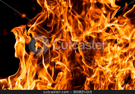Flame stock photo, Fire burning on black background by Alexey Popov