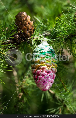 Cone stock photo, Real and toy cone on a Christmas-tree by Alexey Popov