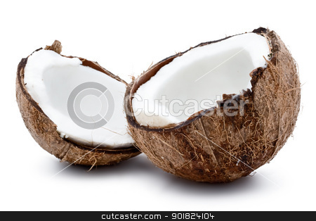Fresh coconut stock photo, Fresh coconut on white isolated background by Alexey Popov