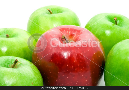 Apples stock photo, Red and green apples on white by Alexey Popov