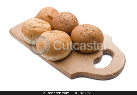Bread stock photo, Different types of bread isolated on white by Alexey Popov