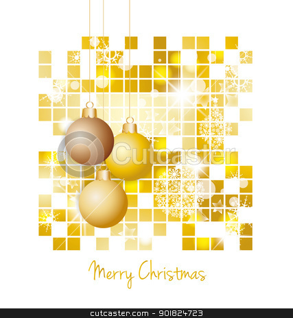 Christmas background stock photo, Christmas decorations of gold on a white background by Miroslava Hlavacova