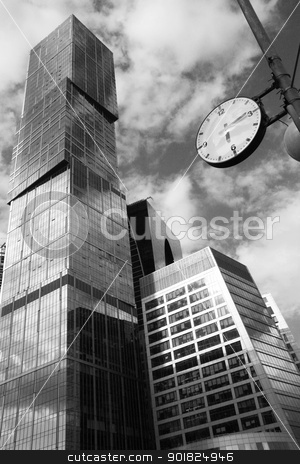 Time for Business stock photo, Time for Business - Black and white concept with modern skyscrapers and watch by Yulia Zhukova