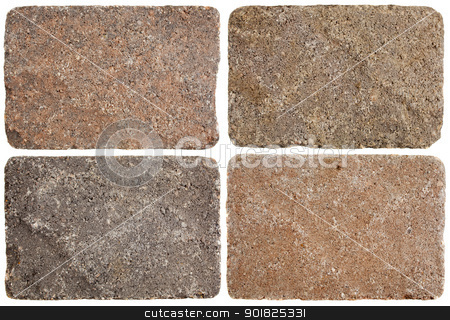 terracotta stepping stones stock photo, texture of four terracofta stepping stones or pavement bricks isolated on white by Marek Uliasz
