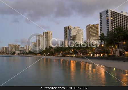 Honolulu Waikiki Sunrise stock photo, Sunrise over the resort hotels blocks at Waikiki beach, Honolulu, Hawaii. by Stephen Gibson