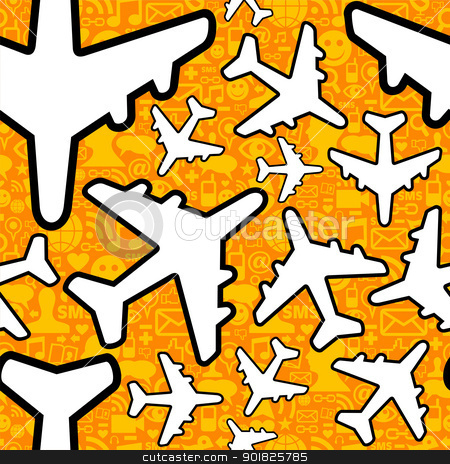 Social media travel business pattern stock photo, Social media networking in travel business. Airplane symbol pattern over icon set seamless pattern background. Vector file layered for easy manipulation and custom coloring. by Cienpies Design