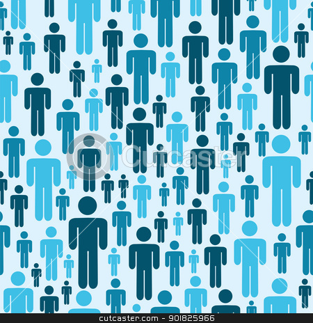 Social media people pattern stock photo, Social media blue people seamless pattern. Vector file layered for easy manipulation and custom coloring. by Cienpies Design