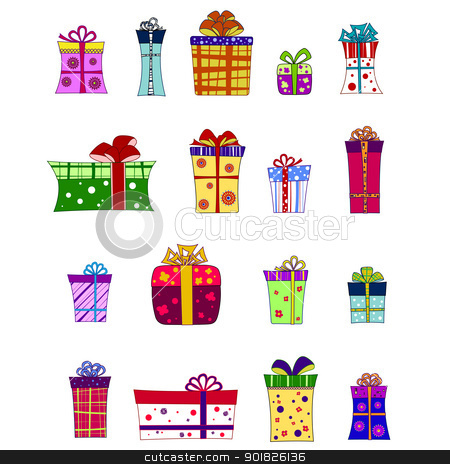 Fancy gift box set stock vector clipart, A set of colourful vector giftboxes by Olga Osipova