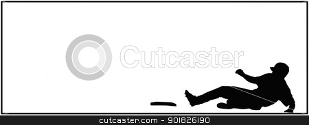 Baseball Sliding Home Sport Card stock photo, Baseball Sliding Home on Black and White Isolated Card by Snap2Art