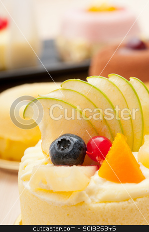 fresh berry fruit cake stock photo, fresh berry fruit cream cake pastry closeup by Francesco Perre