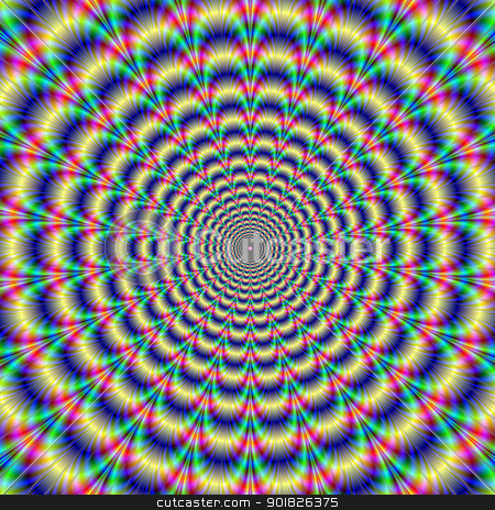 Psychedelic Pulse stock photo, Digital abstract image with a psychedelic circular pattern of blue red yellow green and purple producing an optical illusion of movement. by Colin Forrest
