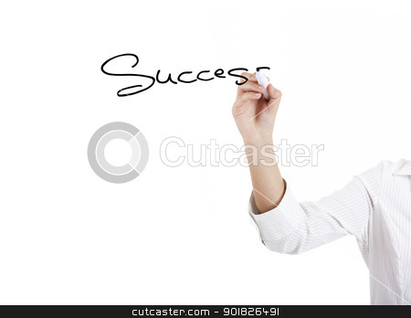 Success stock photo, Young businesswoman woman drawing the word sucess by ikostudio