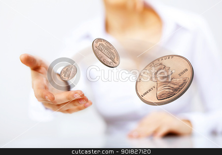 Coin as symbol of risk and luck stock photo, Person throwing a coin as symbol of risk and luck by Sergey Nivens