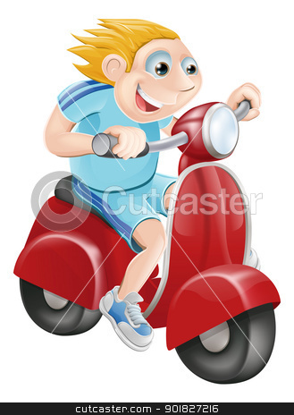 Happy man on his moped stock vector clipart, Illustration of a happy man driving fast on his red moped by Christos Georghiou