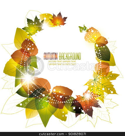 leaves stock vector clipart, autumn leaves on white background by Miroslava Hlavacova