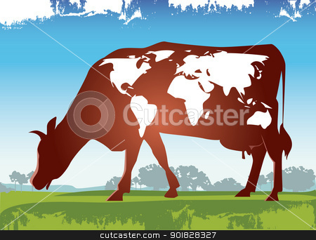 Cow in meadow stock vector clipart, Cow with continents like shapes by Vanda Grigorovic