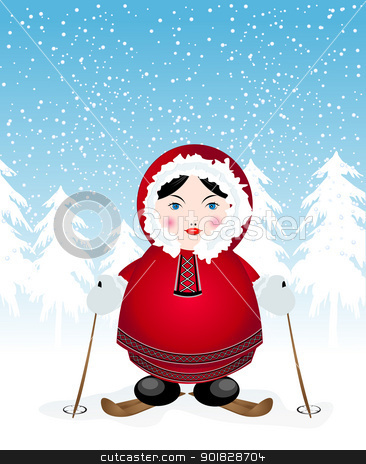 Smiling eskimo stock vector clipart, Smiling eskimo on skis over a winter background by Richard Laschon