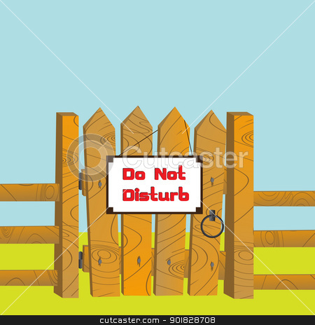Do no disturb stock vector clipart, Cartoon style illustration of a wooden gate and fence with