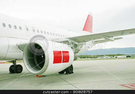 engine of passenger airplane waiting in airport  stock photo, engine of passenger airplane waiting in airport   by dacasdo