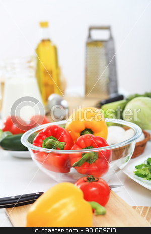 Fresh healthy food stock photo, Fresh food and vegetables on the table by Sergey Nivens