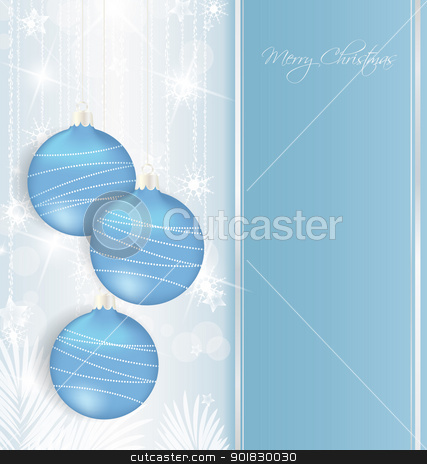 Christmas background stock vector clipart, elegant Christmas background with blue baubles  by Miroslava Hlavacova