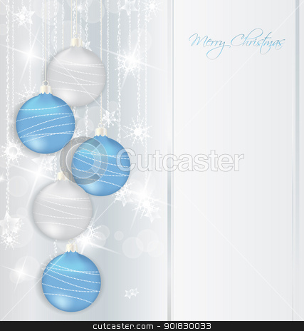 Christmas background stock vector clipart, elegant Christmas background with blue and silwer  baubles  by Miroslava Hlavacova