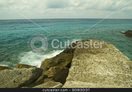 Sea view stock photo, Walk over sea breaking on the rocks by Fabio Alcini
