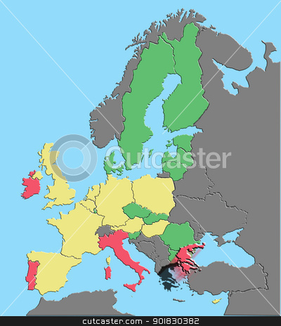 Illustration europe clipping paths stock photo, Illustration of Europe and EU colored by debt % GDP with Greece exiting euro by Steven Heap