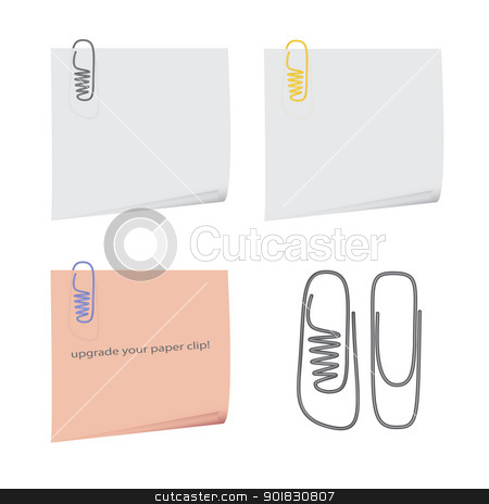 shoe paper clip stock vector clipart, nice image of isolated reminders with original paper clips by metrue