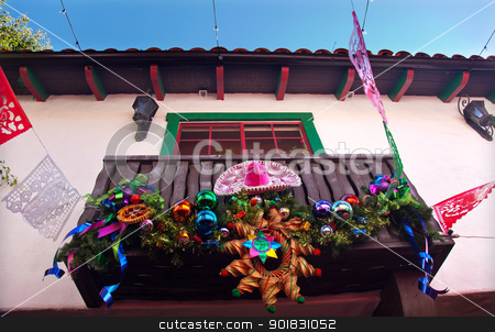 Christmas Decorations Mexican Balcony Old San Diego Town Califor stock photo, Mexican Christmas Decorations Balcony Old San Diego Town California by William Perry