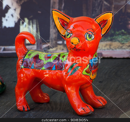 Mexican Colorful Souvenir Ceramic Chihuahua Dog San Diego Calfor stock photo, Meixan Colorful Souvenir Ceramic Chihuahua Dog San Diego California by William Perry