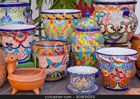 Mexican Pots and Decorations Old San Diego Town California stock photo, Mexican Pots and Decorations Old San Diego Town California by William Perry