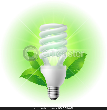 Energy saving lamp stock photo, Energy saving lamp. Illustration on white background. by dvarg