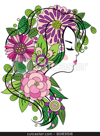 Young girl with flowered hair stock vector clipart, Elegant line art of a beautiful girl with colorful flowers in her hair by Allaya