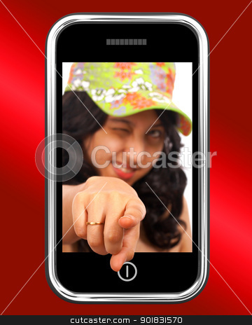 Young Asian Girl Pointing Out Of Mobile stock photo, Young Asian Girl Pointing Out Of Mobile Phone by stuartmiles