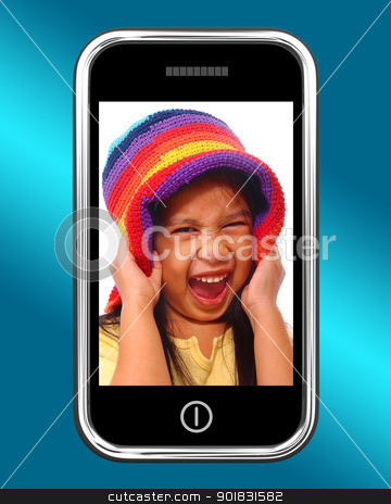 Happy Laughing Young Girl Photo On Mobile Phone stock photo, Happy Laughing Young Girl Photo On Smartphone by stuartmiles