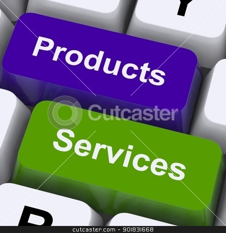 Products And Services Keys Show Selling And Buying Online stock photo, Products And Services Keys Showing Selling And Buying Online by stuartmiles