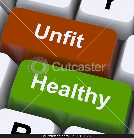 Healthy And Unfit Keys Show Good And Bad Lifestyle stock photo, Healthy And Unfit Keys Showing Good And Bad Lifestyle by stuartmiles