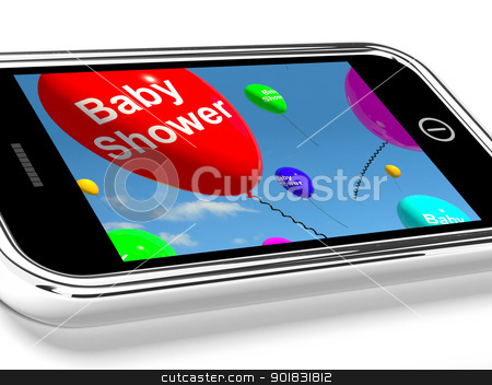 Mobile Phone Message Shows Baby Shower Celebration stock photo, Mobile Phone Message Shows A Baby Shower Celebration by stuartmiles