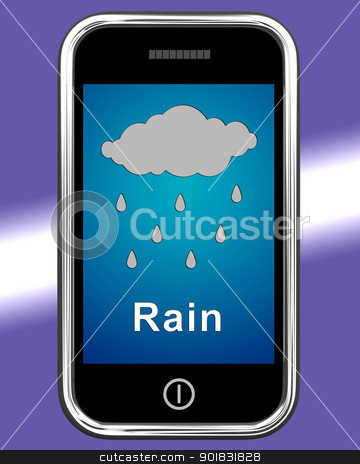Mobile Phone Shows Rain Weather Forecast stock photo, Mobile Phone Showing Rain Weather Forecast by stuartmiles
