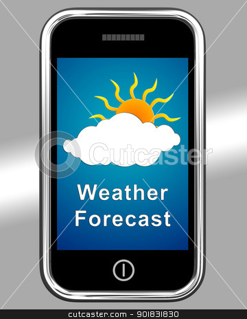 Mobile Phone Shows Cloudy Weather Forecast stock photo, Mobile Phone Showing Cloudy Weather Forecast by stuartmiles