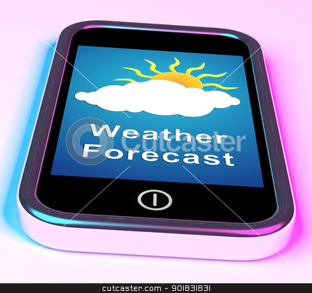Mobile Phone Shows Cloudy Sun Weather Forecast stock photo, Mobile Phone Showing Cloudy Sun Weather Forecast by stuartmiles