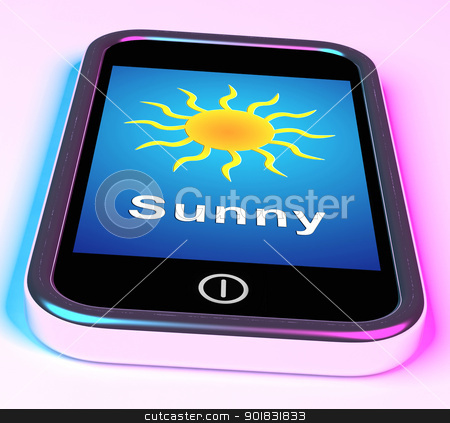 Mobile Smartphone Shows Sunny Weather Forecast stock photo, Mobile Smartphone Showing Sunny Weather Forecast by stuartmiles