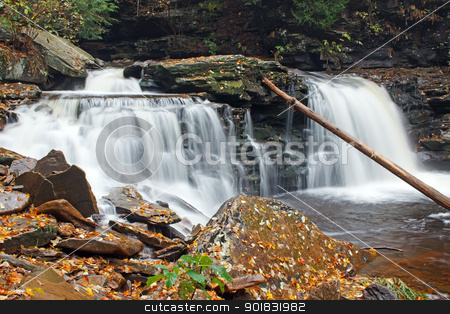 Waterfall with Autumn Leaves stock photo, Waterfall at Ricketts Glen State Park,Benton,Pennsylvania,USA. by Delmas Lehman