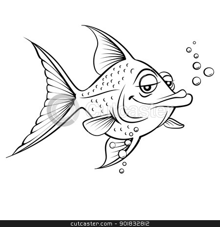 Painted fish stock photo, Cartoon fish. Black and white illustration on white background  by dvarg