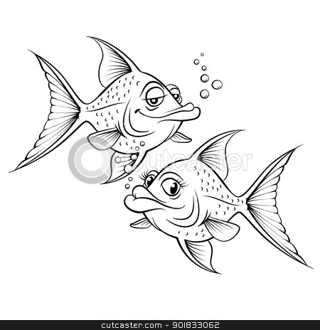 Two drawing cartoon fish stock photo, Two drawing cartoon fish. Illustration for design on white background by dvarg