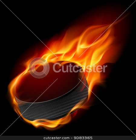Burning hockey puck stock photo, Burning hockey puck. Illustration for design on black background  by dvarg