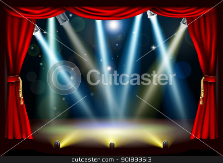 Spotlight theatre stage stock vector clipart, A spotlight theatre stage with coloured spotlights and red stage curtain drapes by Christos Georghiou
